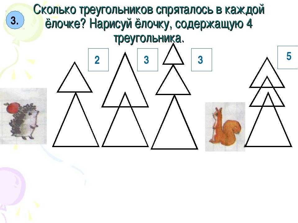 Сколько треугольников спряталось в каждой ёлочке? Нарисуй ёлочку, содержащую...