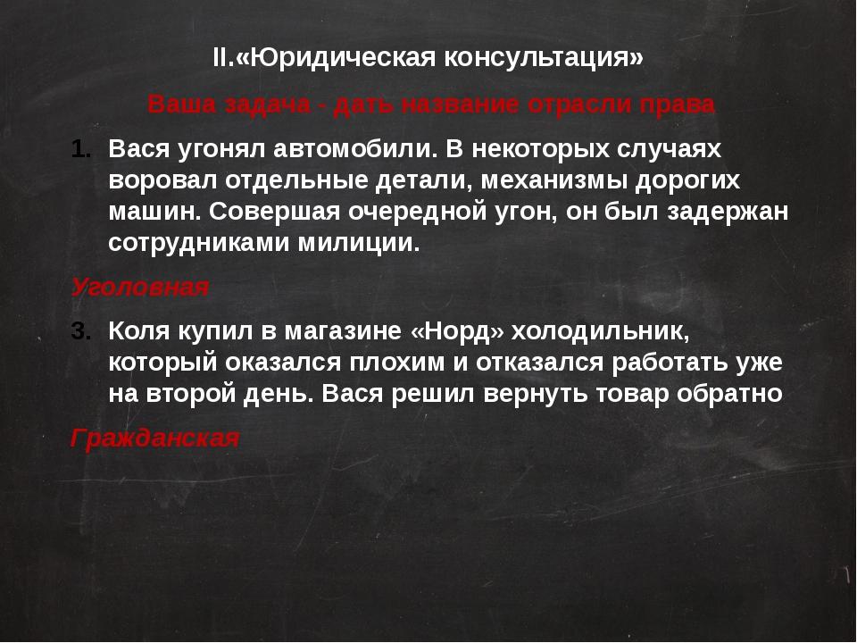 II.«Юридическая консультация» Ваша задача - дать название отрасли права Вася...