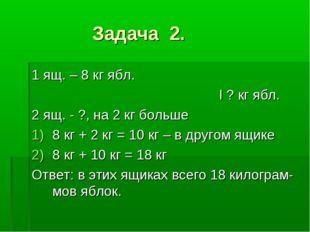 Задача 2. 1 ящ. – 8 кг ябл. I ? кг ябл. 2 ящ. - ?, на 2 кг больше 8 кг + 2 к