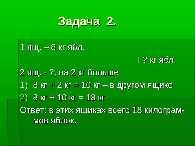 Задача 2. 1 ящ. – 8 кг ябл. I ? кг ябл. 2 ящ. - ?, на 2 кг больше 8 кг + 2 к...