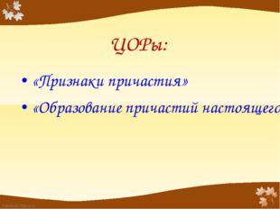 ЦОРы: «Признаки причастия» «Образование причастий настоящего времени» FokinaL