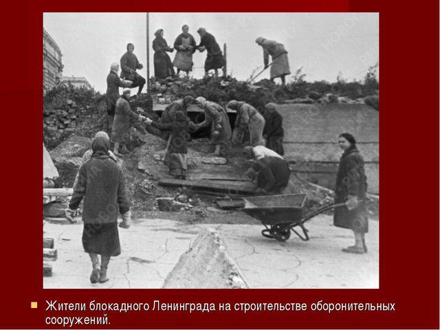 Жители блокадного Ленинграда на строительстве оборонительных сооружений.