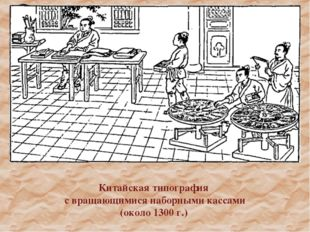 Китайская типография с вращающимися наборными кассами (около 1300 г.)