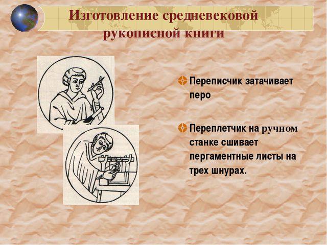 Изготовление средневековой рукописной книги Переписчик затачивает перо Перепл...