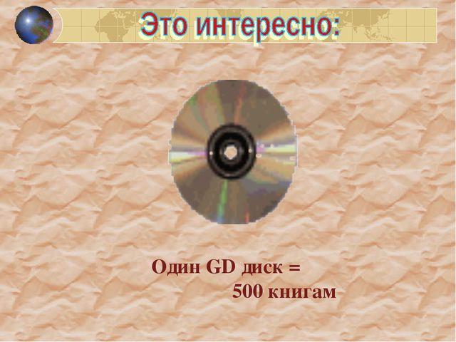 Один GD диск = 500 книгам
