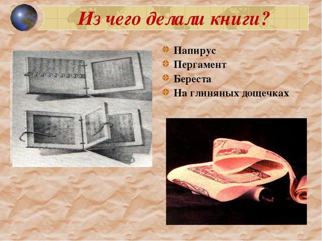 Из чего делали книги? Папирус Пергамент Береста На глиняных дощечках 1200