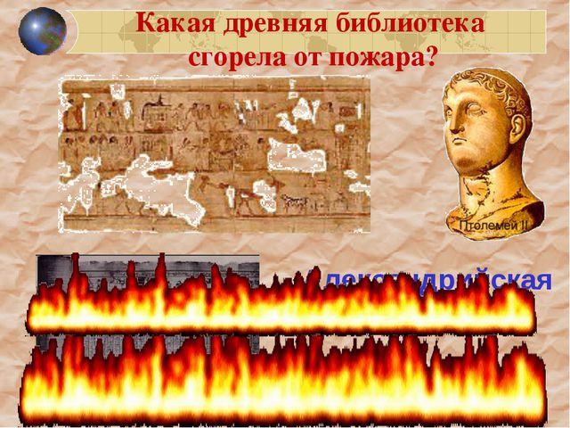 Александрийская библиотека Какая древняя библиотека сгорела от пожара?