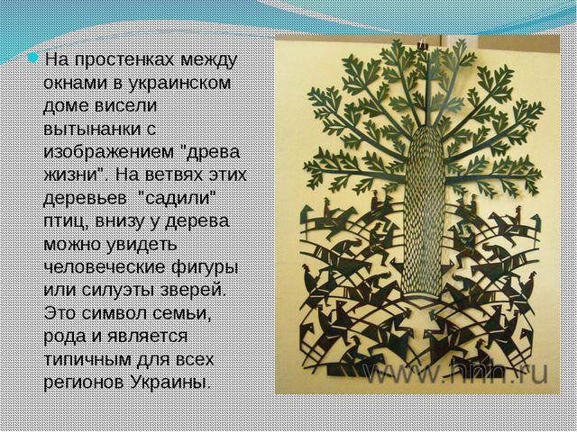 На простенках между окнами в украинском доме висели вытынанки с изображением...