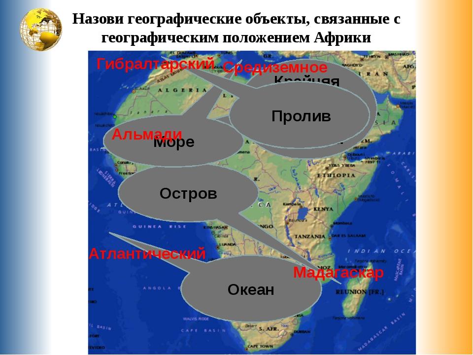 Назови географические объекты, связанные с географическим положением Африки К...