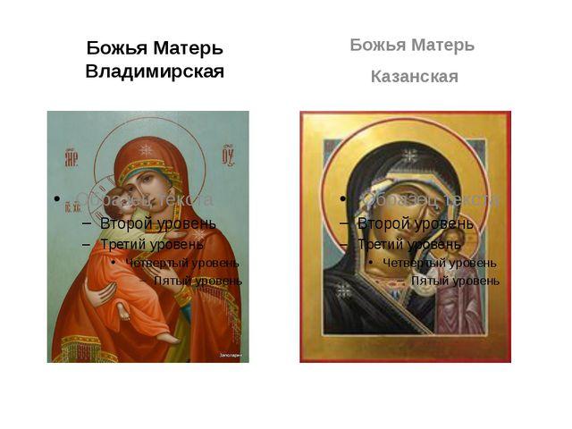 Божья Матерь Владимирская Божья Матерь Казанская