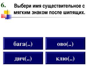 Выбери имя существительное с мягким знаком после шипящих. дич(..) бага(..) ов