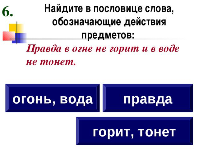 Найдите в пословице слова, обозначающие действия предметов: Правда в огне не...