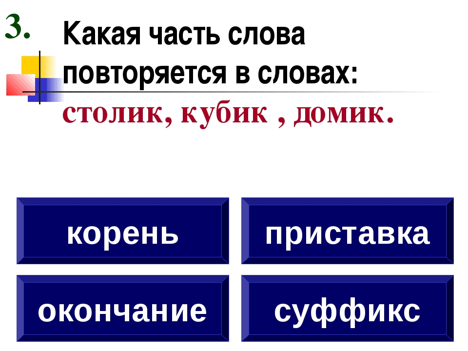Какая часть слова повторяется в словах: столик, кубик , домик. окончание коре...