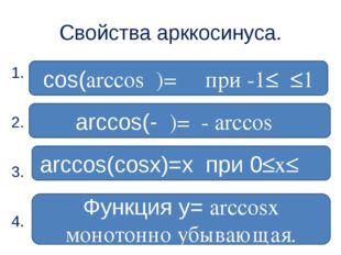 Свойства арккосинуса. 1. 2. 3. 4. arccos(-α)=π- arccosα arccos(cosx)=x при 0≤
