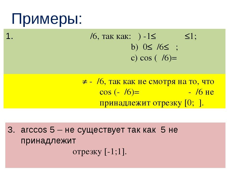 Примеры: arccos(√ ̄̄3/2)=π/6, так как: α) -1≤√ ̄̄3/2≤1; b) 0≤π/6≤π ; с) соs (...