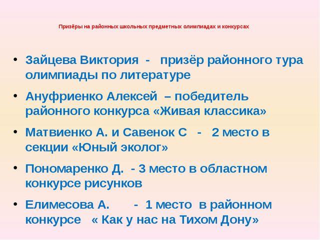 Призёры на районных школьных предметных олимпиадах и конкурсах Зайцева Виктор...