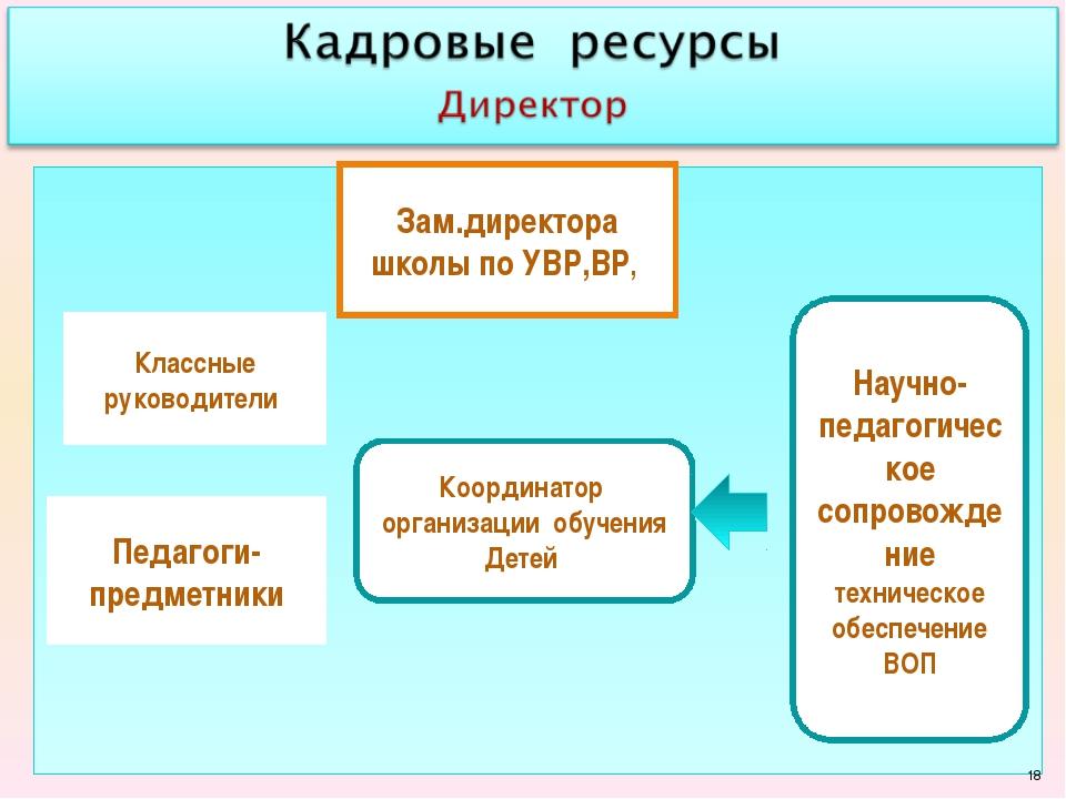 Координатор организации обучения Детей Классные руководители Педагоги-предме...