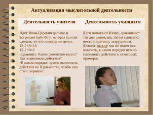 Актуализация мыслительной деятельности Деятельность учителя Деятельность учащ