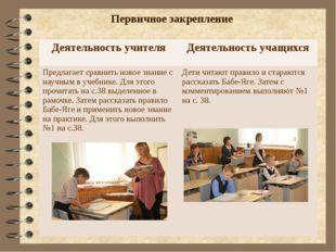 Первичное закрепление Деятельность учителя Деятельность учащихся Предлагает с