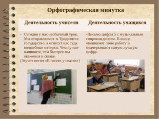 Орфографическая минутка Деятельность учителя Деятельность учащихся Сегодня у