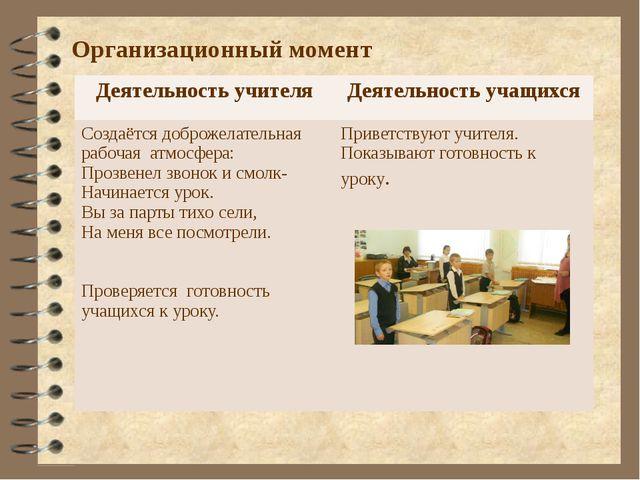 Организационный момент Деятельность учителя Деятельность учащихся Создаётся д...