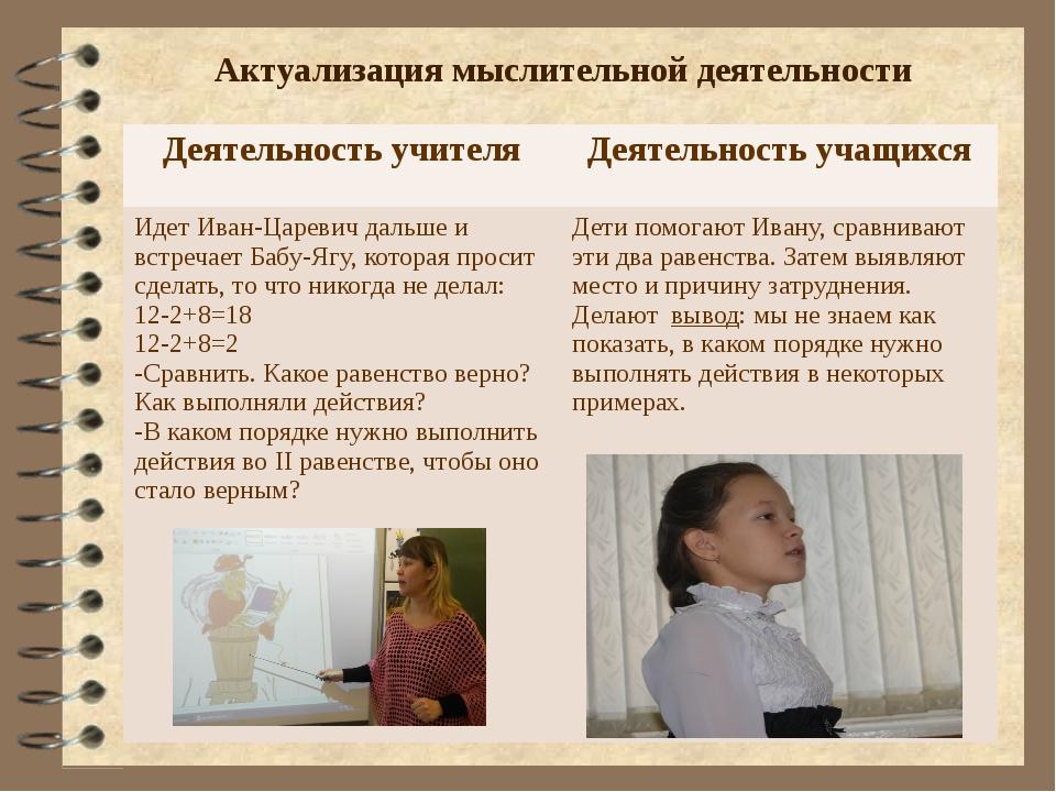 Актуализация мыслительной деятельности Деятельность учителя Деятельность учащ...