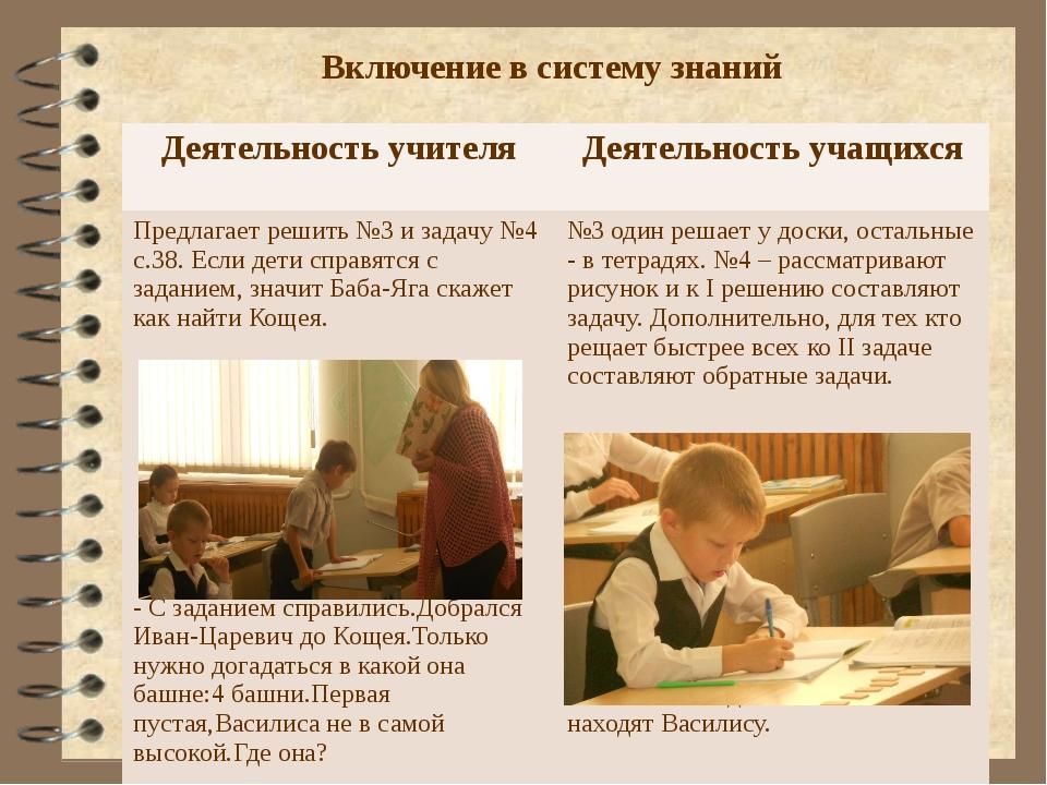 Включение в систему знаний Деятельность учителя Деятельность учащихся Предлаг...