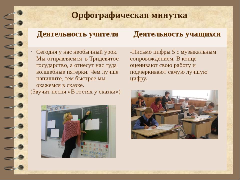 Орфографическая минутка Деятельность учителя Деятельность учащихся Сегодня у...