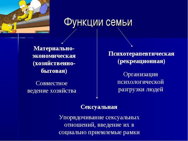 Функции семьи Материально-экономическая (хозяйственно-бытовая) Психотерапевти...