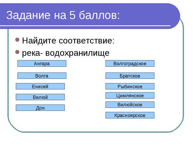 Задание на 5 баллов: Найдите соответствие: река- водохранилище Волгоградское...