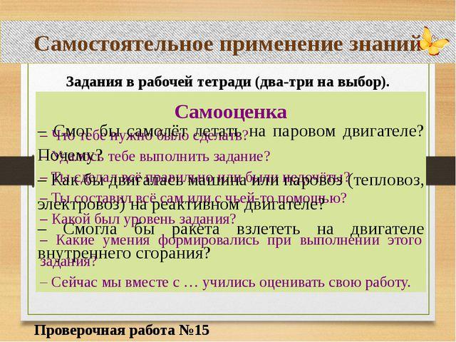 Самостоятельное применение знаний Проверочная работа №15 Задания в рабочей те...
