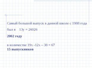 Самый большой выпуск в данной школе с 1988 года был в 13у = 26026 2002 году в