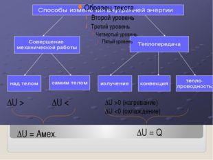 ΔU > ΔU < ΔU = Q ΔU = Aмех. ΔU >0 (нагревание) ΔU