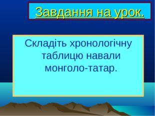 Завдання на урок. Складіть хронологічну таблицю навали монголо-татар.