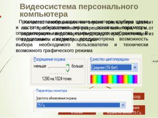 Видеопамять Видеопроцессор Монитор Видеоадаптер Видеосистема персонального к