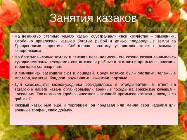 Занятия казаков На незанятых степных землях казаки обустраивали свои хозяйств...