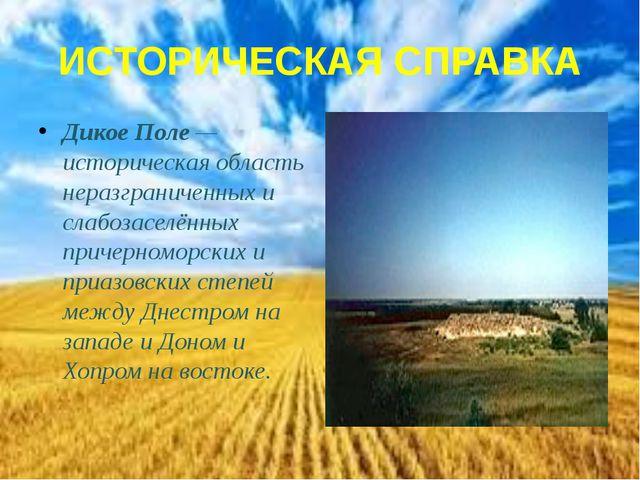 ИСТОРИЧЕСКАЯ СПРАВКА Дикое Поле — историческая область неразграниченных и сла...