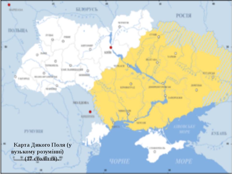 Карта Дикого Поля (у вузькому розумінні) (17 століття).