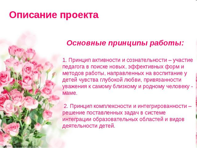 Описание проекта Основные принципы работы: 1. Принцип активности и сознательн...