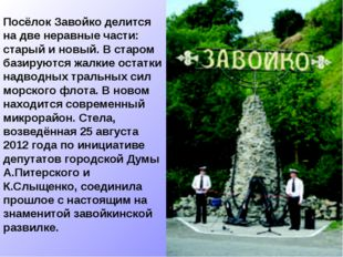 Посёлок Завойко делится на две неравные части: старый и новый. В старом базир