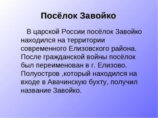 Посёлок Завойко В царской России посёлок Завойко находился на территории совр