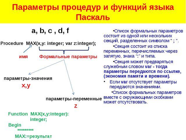 Параметры процедур и функций языка Паскаль Список формальных параметров состо...