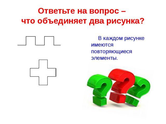 Ответьте на вопрос – что объединяет два рисунка? В каждом рисунке имеются пов...