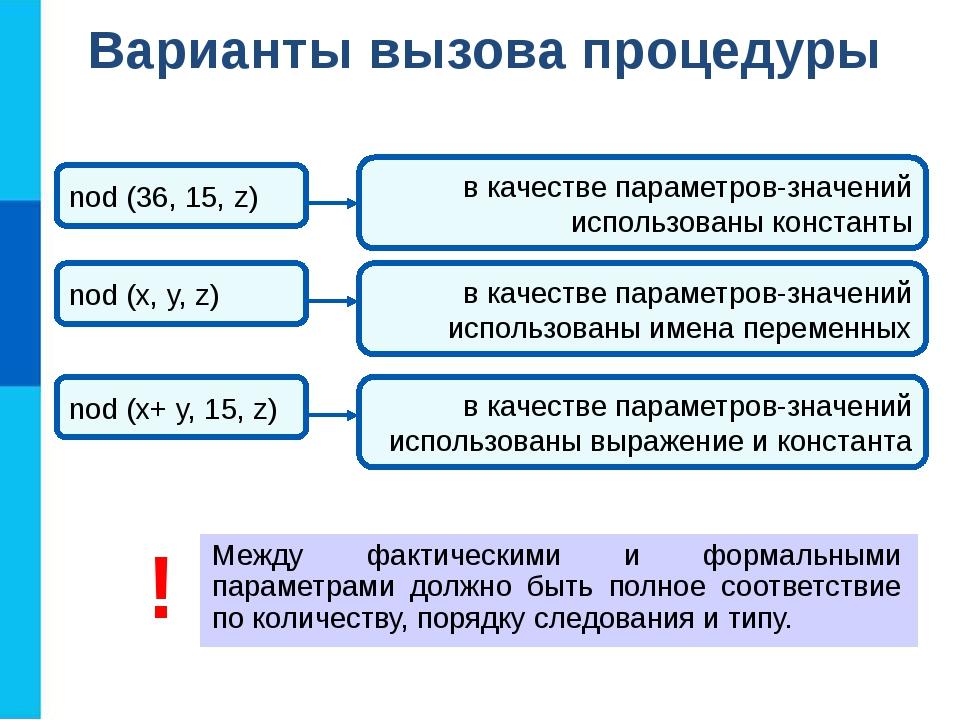 Варианты вызова процедуры Между фактическими и формальными параметрами должн...