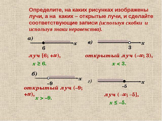 а) Определите, на каких рисунках изображены лучи, а на каких – открытые лучи,...