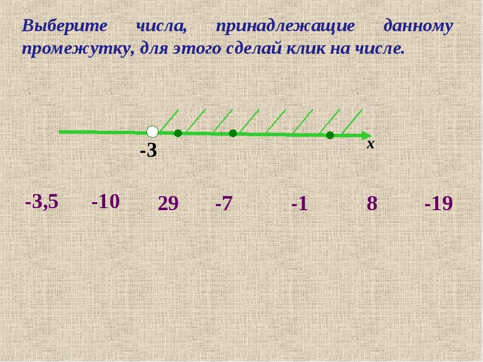 -3 х -10 -3,5 -7 8 -19 29 -1 Выберите числа, принадлежащие данному промежутку...