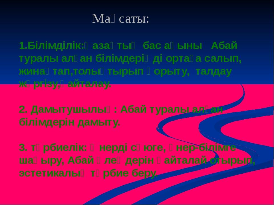 1.Білімділік:Қазақтың бас ақыны Абай туралы алған білімдеріңді ортаға салып,...