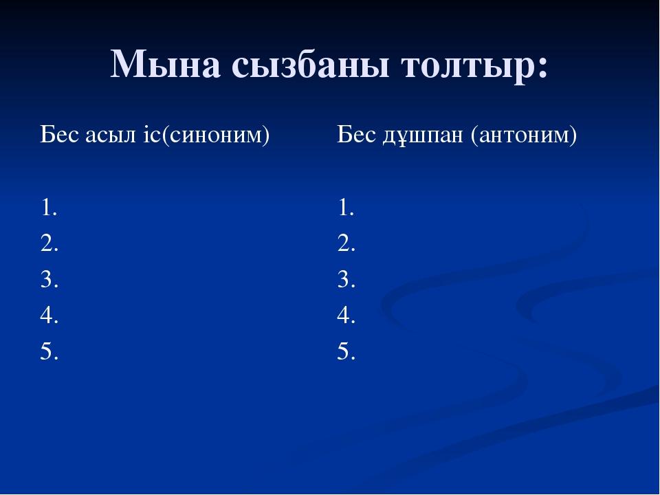 Мына сызбаны толтыр: Бес асыл іс(синоним) 1. 2. 3. 4. 5. Бес дұшпан(антоним)...