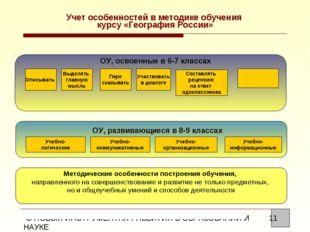 Учет особенностей в методике обучения курсу «География России» ОУ, освоенные