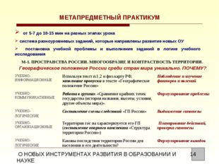 МЕТАПРЕДМЕТНЫЙ ПРАКТИКУМ от 5-7 до 10-15 мин на разных этапах урока система р